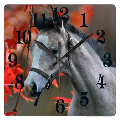 A Little Foal Square Wall Clock - autumn gifts templates diy - clock templates