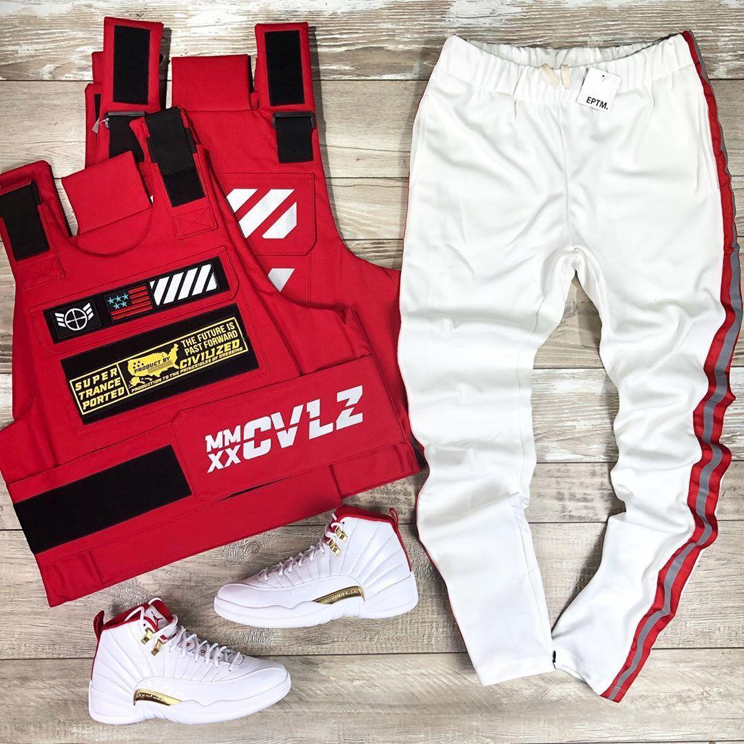 red jordan 12 outfit