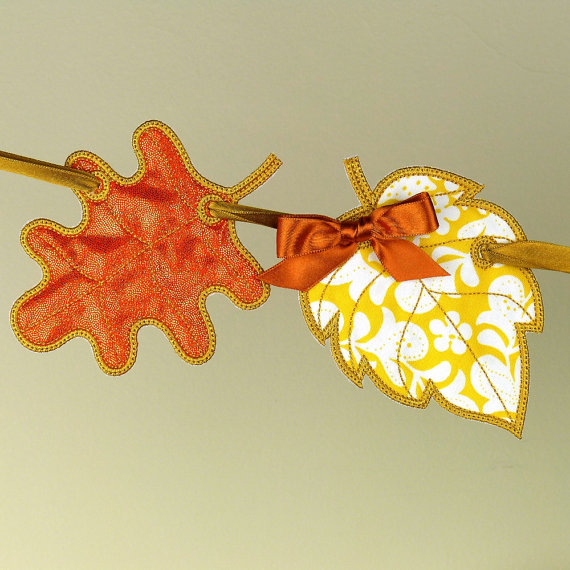 Fall leaves banner ith project machine embroidery designs