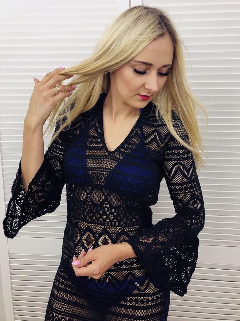 Szydelkowa Sukienka Plazowa Boho Czarna Dresses With Sleeves Long Sleeve Dress Fashion