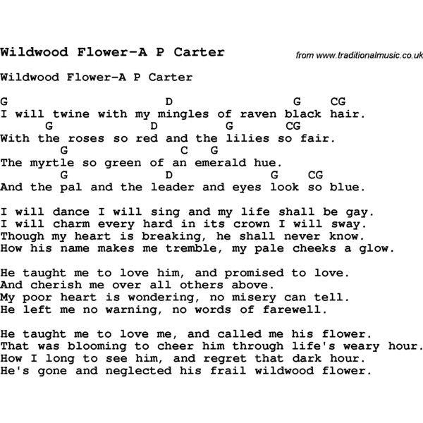 Summer Camp Song Wildwood Flower A P Carter With Lyrics And Chords