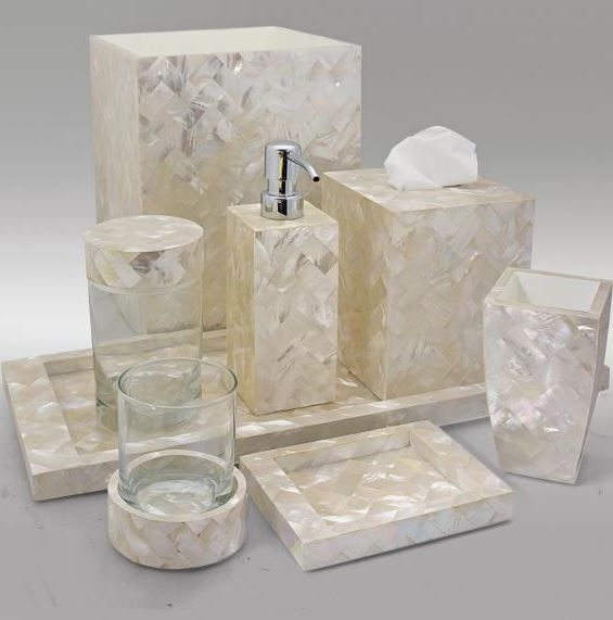 White Mother Of Pearl Bath Accessories