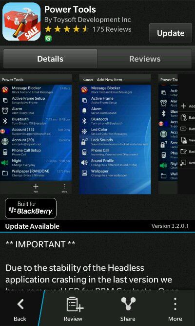 Power Tools from Toysoft Development updated - Has many new features and bug fixes - http://blackberryempire.com/power-tools-from-toysoft-development-updated-has-many-new-features-and-bug-fixes/ #BlackBerry #Smartphones #Tech