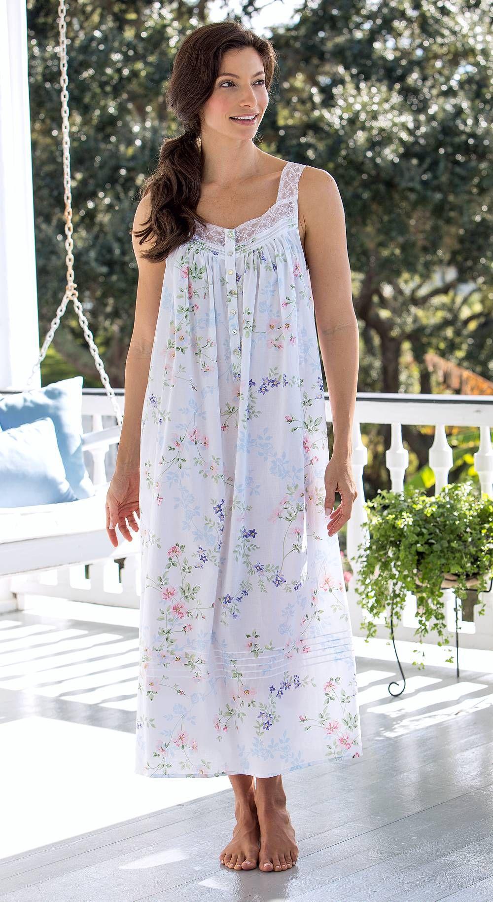 Eileen West Floral-Print Nightgown   Garden of Dreams Cotton Lawn ...