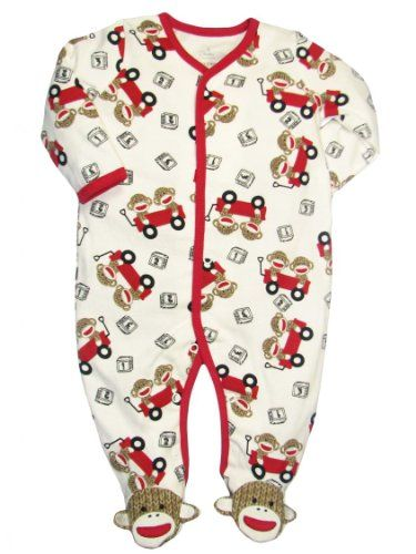 aa278ed9ec Unisex Iconic Sock Monkey Baby Footie Pajama s by Baby Starters - Red - 3  Mths