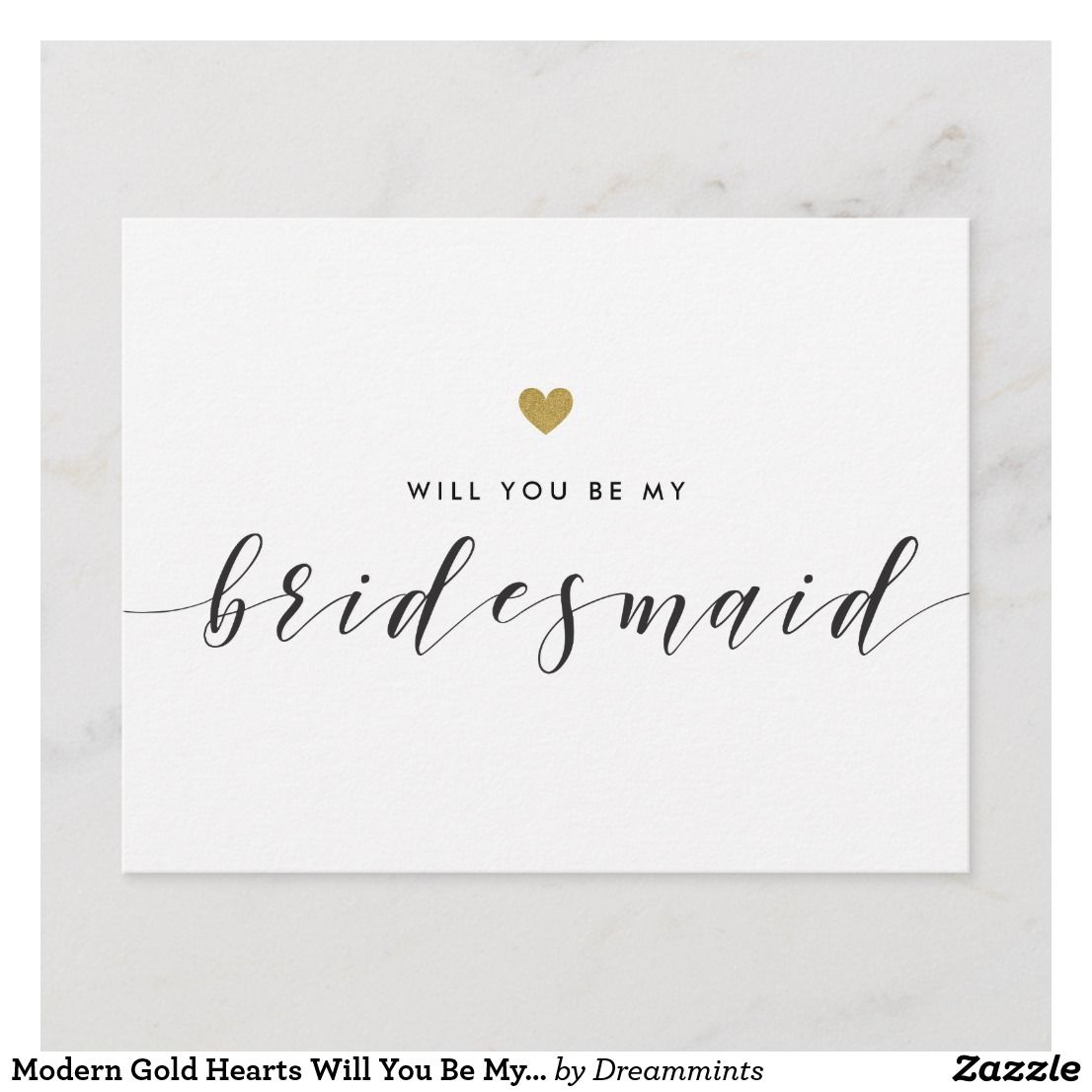 Bokeh Flowers Wedding: Modern Gold Hearts Will You Be My Bridesmaid Invitation