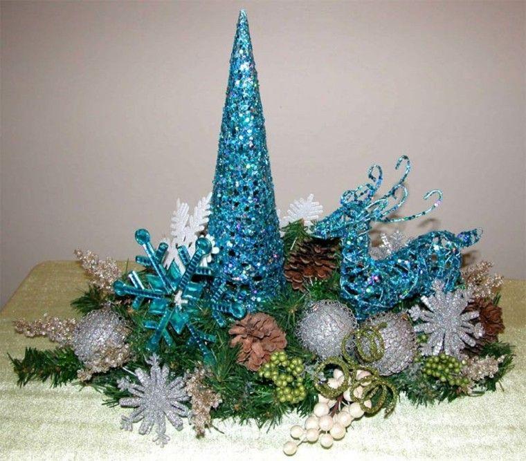 centro de mesa con adornos color turquesa mimivillamen Pinterest