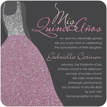 Wording for quince invitations quinces pinterest quince sublime silhouette birthday party invitations in bay or heather stopboris Image collections