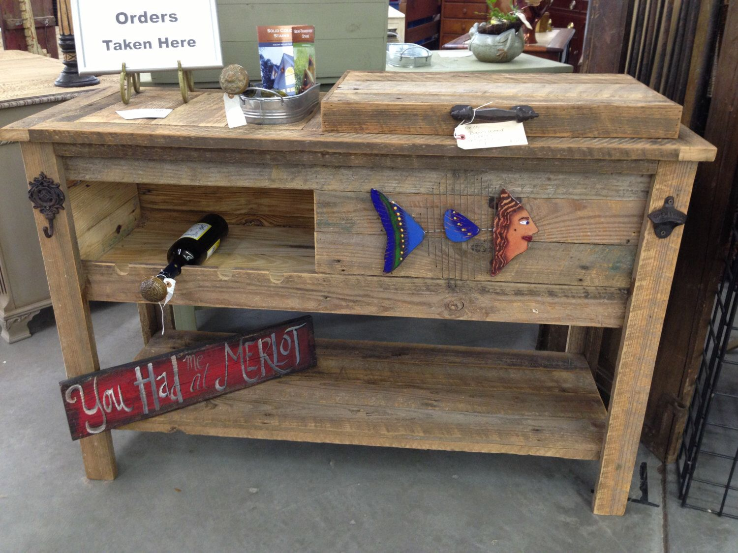 Outdoor Rustic Wooden Cooler Bar Serving Console Table