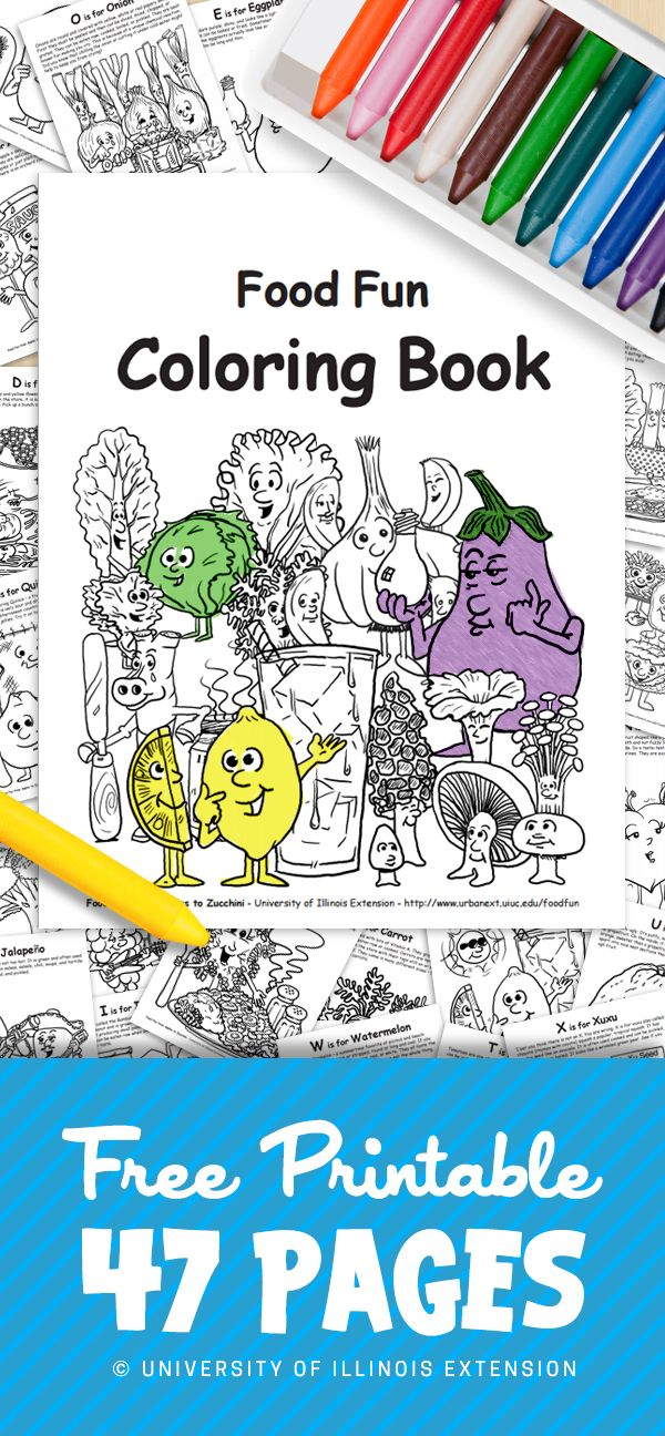 - FREE PRINTABLE: 47-page Coloring Book Teaching ABC's And Fruits/Vegetables.  Great Resource For Parents An… Coloring Books, Printable Coloring Book,  Kids Nutrition
