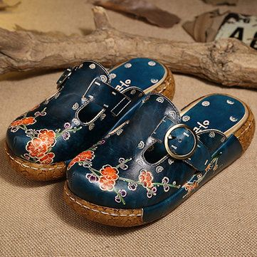 SOCOFY Women Leather Hollow Out Platform Shoes Backless Flower Butterfly Sandals