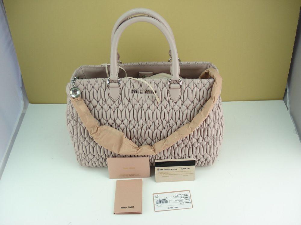 0d342e47d5a4 MIU MIU Cloquet Nappa Leather Bag With Swarovski Crystal