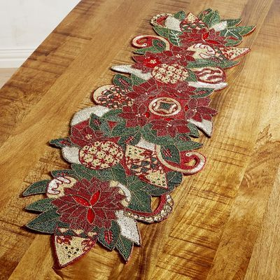 The Tree S Not The Only One Loaded With Ornaments This Year Our Handcrafted Table Runner Is Too Christmas Table Linen Handcrafted Table Christmas Table Cloth