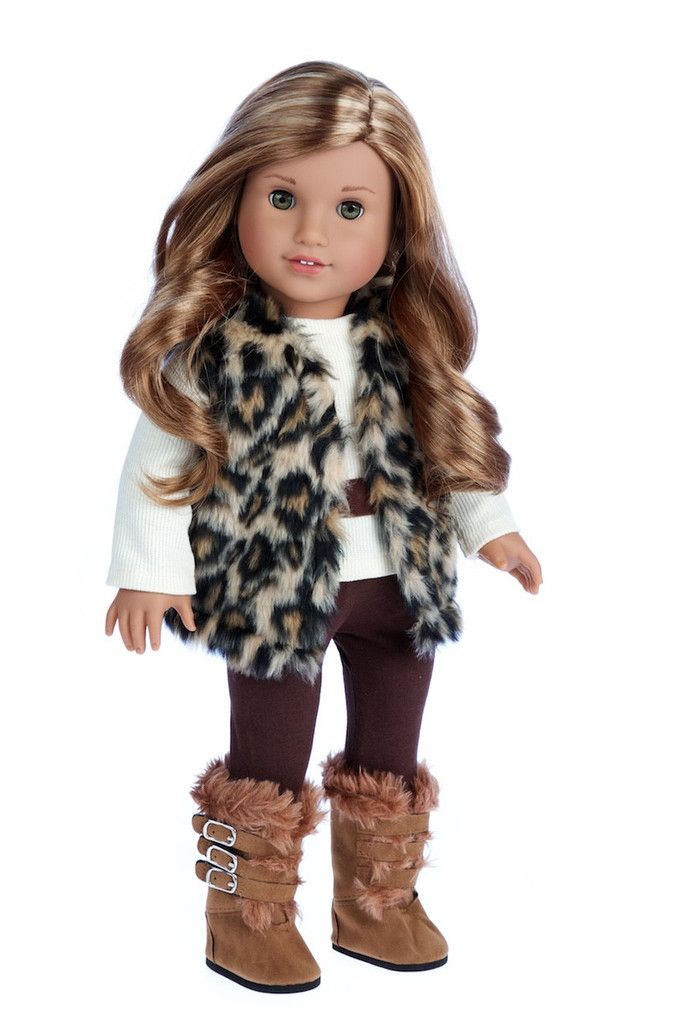 Wild Cat - Clothes for 18 inch Doll - Faux Fur Vest and Boots ...