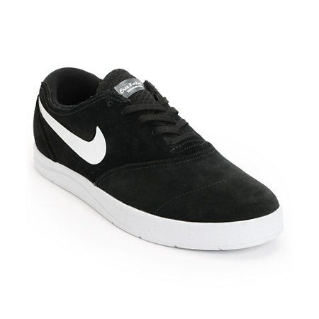 Nike SB Eric Koston 2 Lunarlon Black & White Suede Skate Shoes | Zumiez