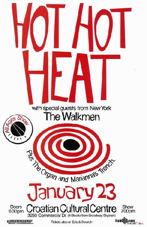 Original Hot Hot Heat Concert Poster From The Croatian Cultural Center In Vancouver Canada In 2003 11x17 Thin Glossy Paper Concert Posters Poster Marianna Trench