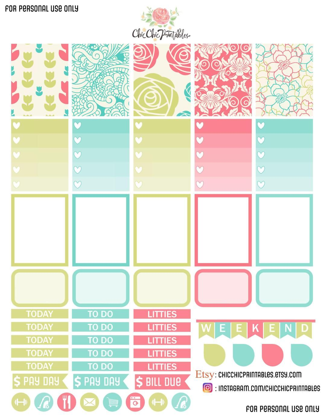 free printable floral stickers :) | free planner printouts