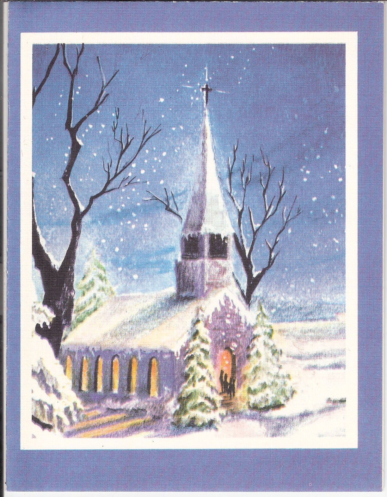 Vintage Christmas Card Country Church IN THE Snow