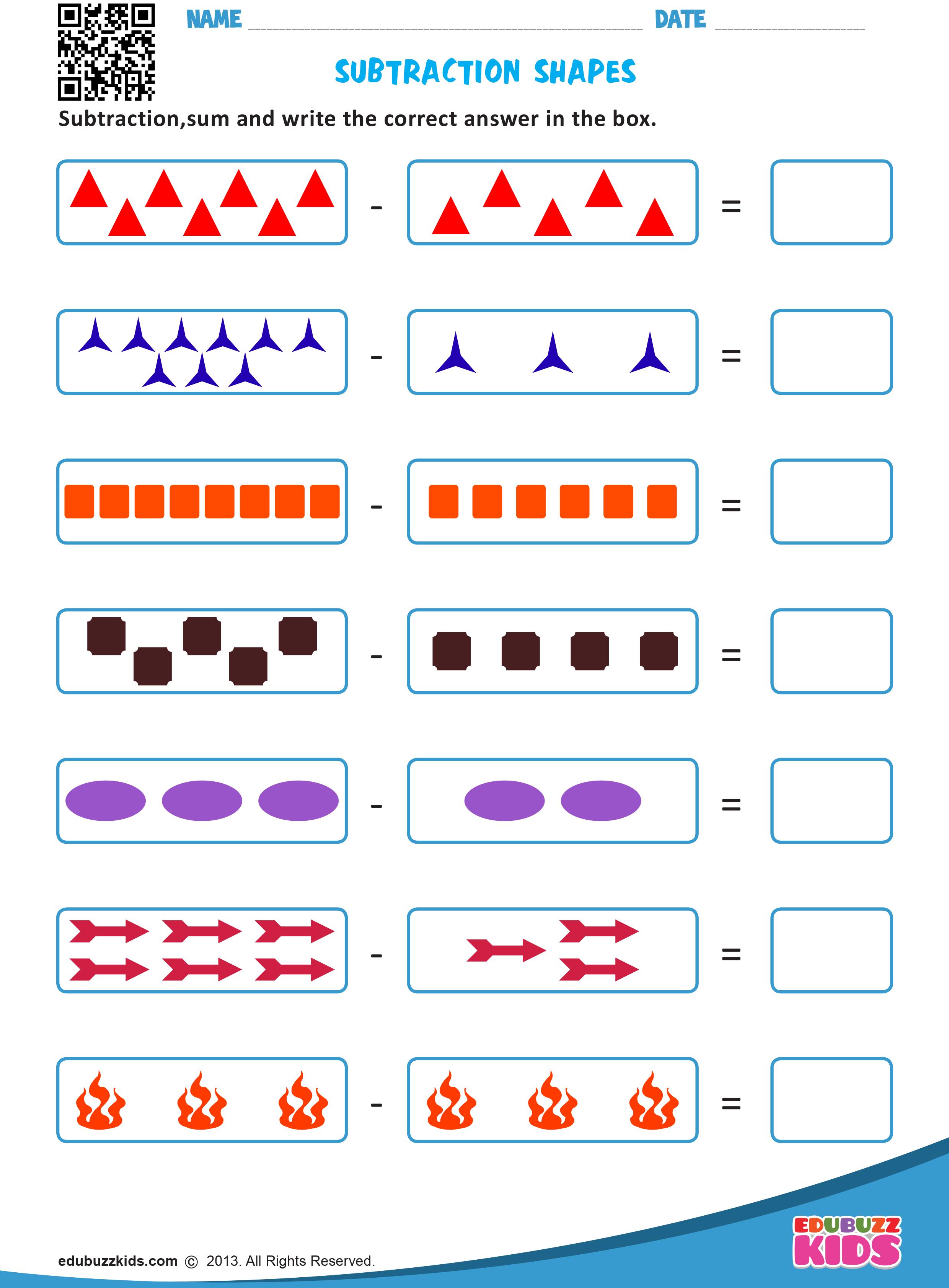 Subtraction Shapes Shapes Worksheets Subtraction Subtraction Kindergarten [ 3366 x 2480 Pixel ]