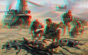 Pintura Arte Militar de conversión 3D Rojo Cyan por Fan2Relief3D