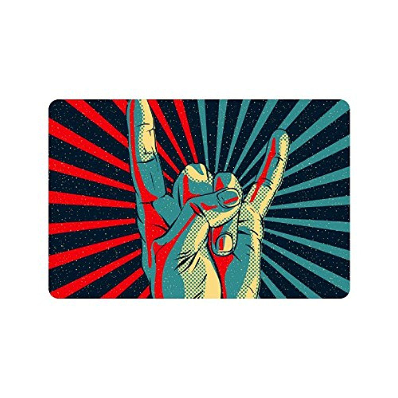 Custom Music Rock N Roll Hand Art Doormat Entrance Mat Floor Mat Rug Mats  Rubber Non