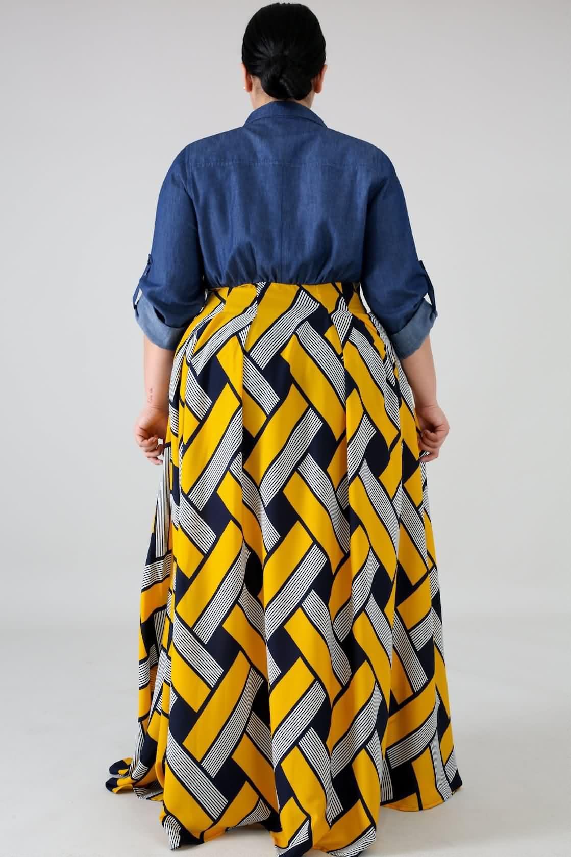 ac240df136 Women Yellow Tribal Print Button Up Casual Plus Size Maxi Shirt Dress - XL