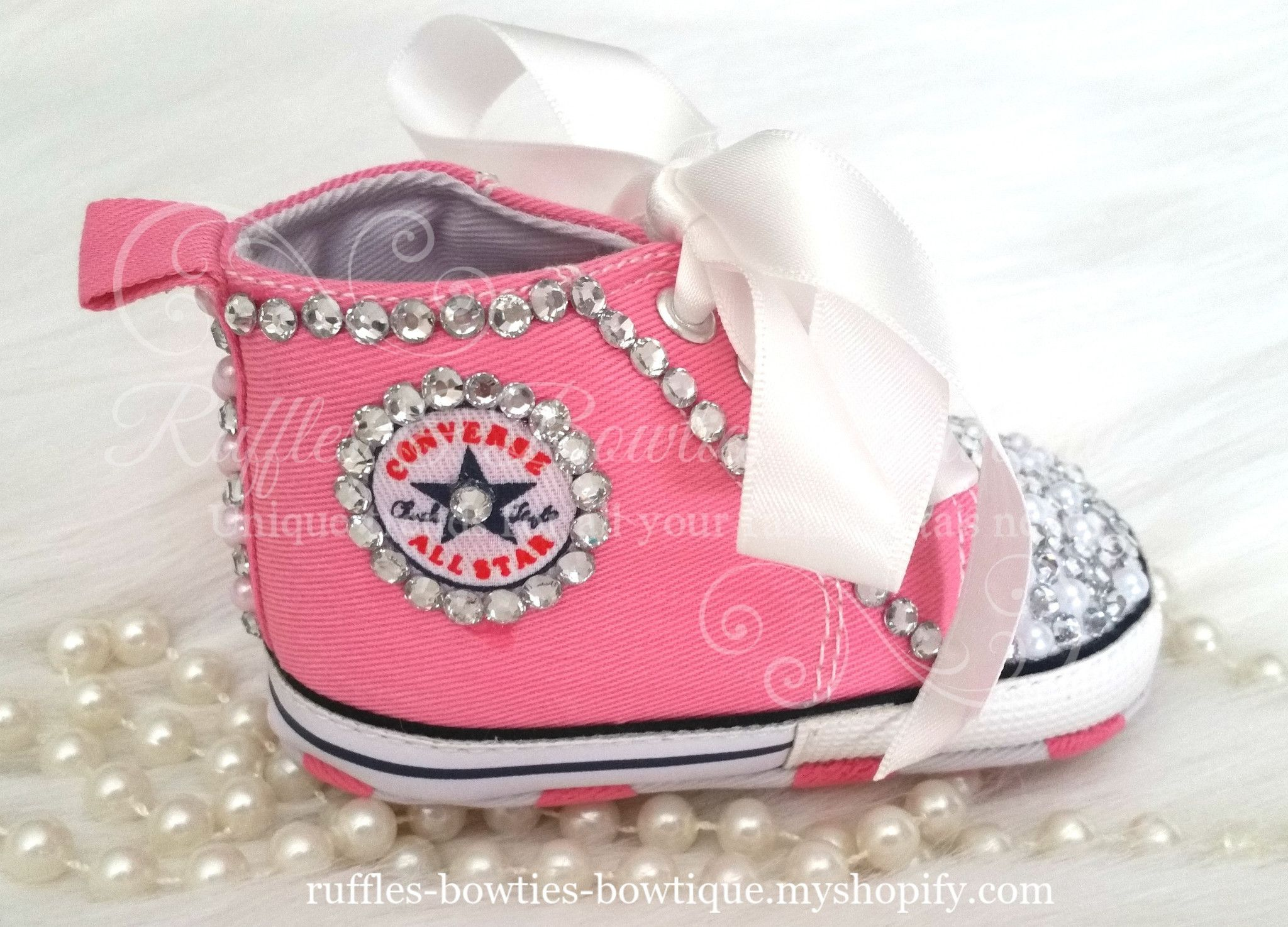 Crystal   Pearl Baby Converse High Tops - Crystal Shoes - Pre Walker Shoes  - Baby Girl Shoes - Wedding - Christening - Baptism - Baby - Hot Pink d0c6ee479