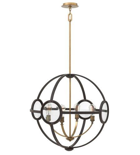 Hinkley 3924KZ Fulham 4 Light 26 inch Buckeye Bronze Chandelier Ceiling Light, Clear Beveled Glass #lightingnewyork #lny #lighting