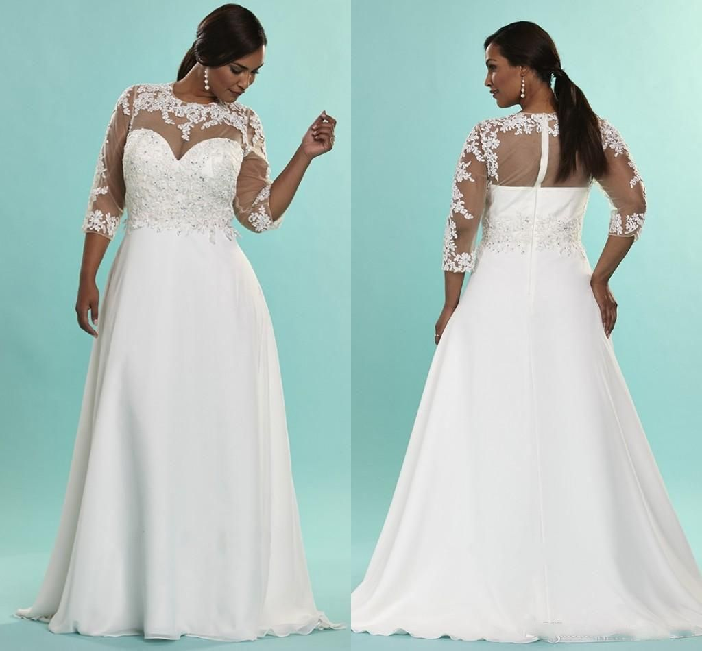 Modest Plus Size Arabic Wedding Dresses Appliques Pleated Bridal ...