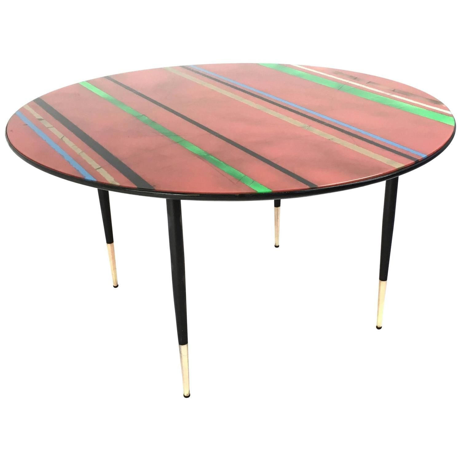 Midcentury Round Coffee Table With A Red Back Painted Glass Top Italy 1950s Colorful Coffee Table Coffee Table Upcycle Coffee Table [ 1500 x 1500 Pixel ]