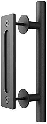 Amazon Com Smartstandard 12 Pull And Flush Door Handle Set In Black Sliding Door Hardware Handle Home Improve Door Handles Barn Door Handles Door Handle Diy
