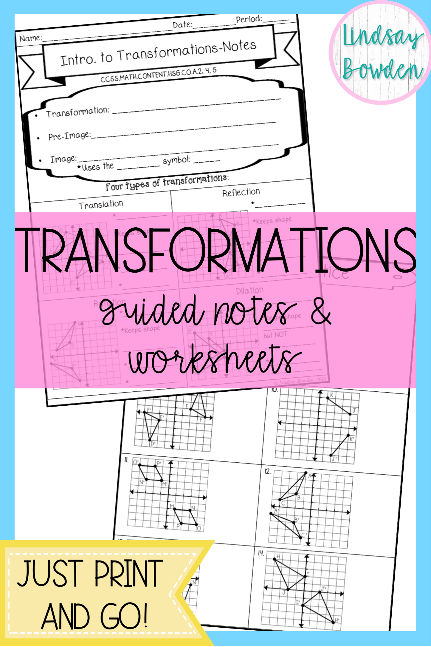 Transformations Guided Notes And Worksheets High School Geometry Notes Guided Notes Math Notes [ 2169 x 1446 Pixel ]