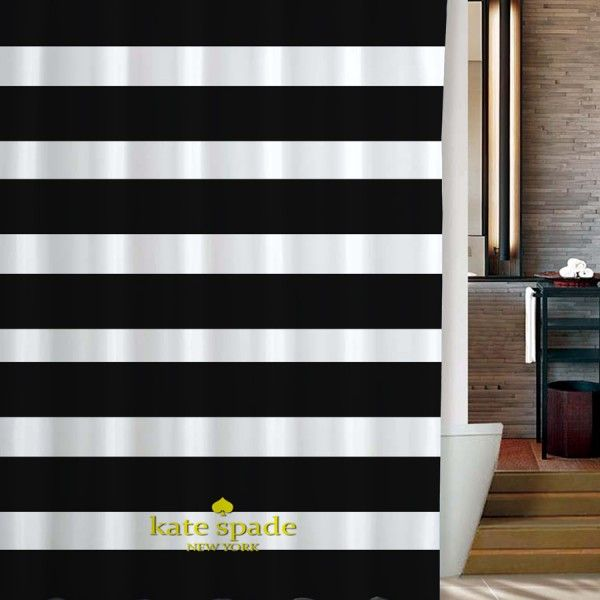 Kate Spade Logo Gold Black Stripe Shower Curtain