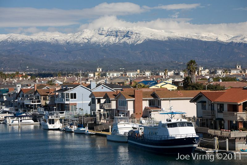 Channel islands harbor in oxnard ca with snow in the