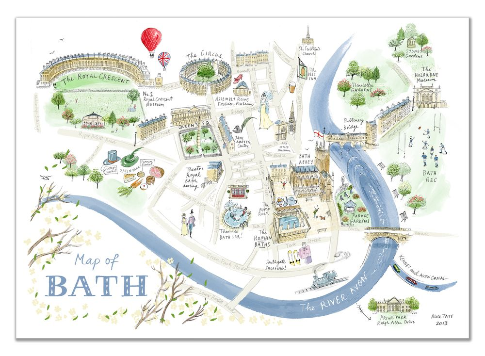 Map Of England Bath.Alice Tait Map Of Bath Print In 2019 Hello Artist Bath Map