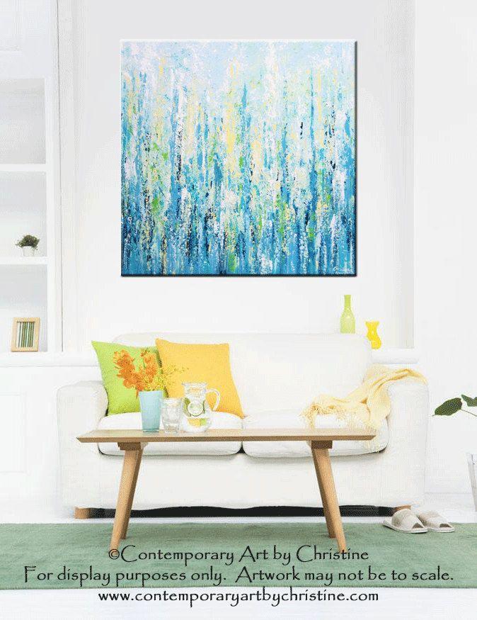 "ORIGINAL Art XL Abstract Painting Blue Aqua Textured LARGE Contemporary Modern Palette Knife Green Yellow Beach Wall Decor 36x36"" -Christine by ChristineKrainock on Etsy https://www.etsy.com/listing/190684125/original-art-xl-abstract-painting-blue"