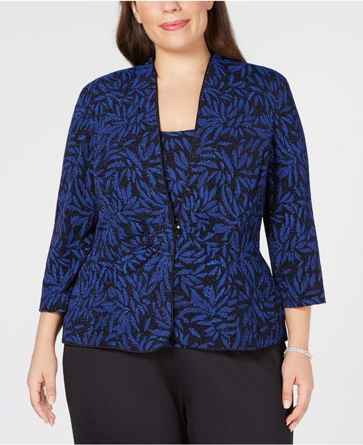 8cb5a457 Alex Evenings Plus Size Glitter-Print Jacket & Top Set - Black/Royal ...