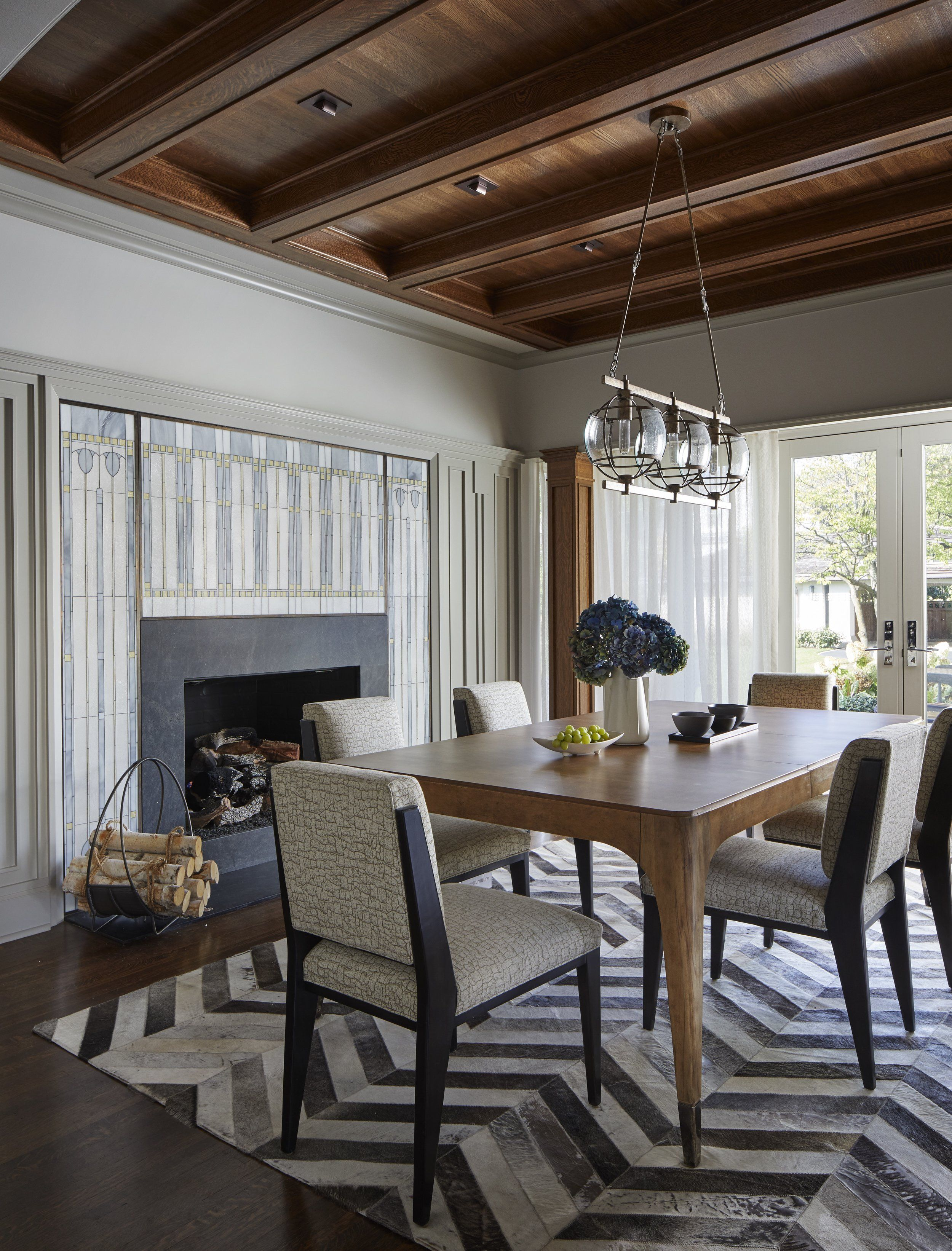 Hair On Hide Chevron Dining Rug And That Detailed Fireplace Surround Dmondi