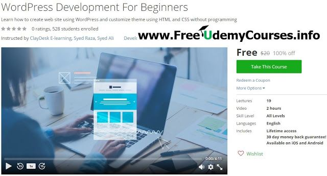 [#Udemy 100% Off] WordPress Development For Beginners   Course Description  Do you want to create a web site or blog using WordPress in no time?  Learn the basic concepts of HTML and CSS and become skilled in working with WordPress themes.No coding - No p
