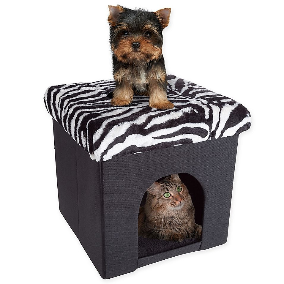 Petmaker House Ottoman Pet Cube In Zebra Dog Beds For Small Dogs