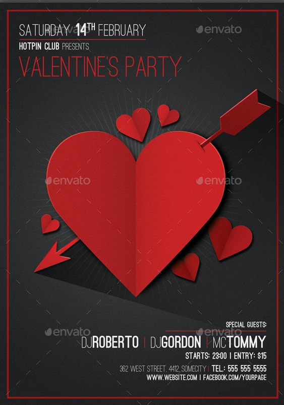 Nice Valentines Day Flyer Templates With Paper Effect  HttpWww