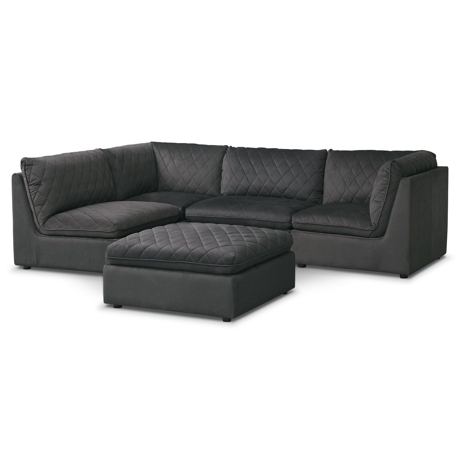 Outstanding Coco Charcoal 4 Piece Sectional With Cocktail Ottoman Pabps2019 Chair Design Images Pabps2019Com