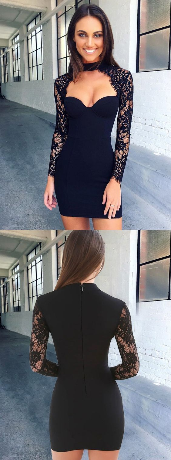Bodycon high neck long sleeves cut out black homecoming dress with