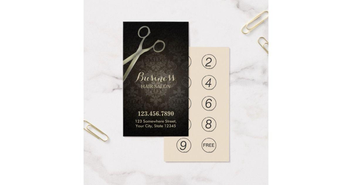 Punch Card   Anitique Scissor Damask Hair Salon   Damasks and Salons