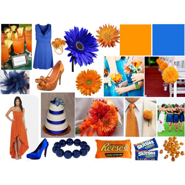 Orange Blue Wedding Theme By Highglosswed On Polyvore Featuring Fashion Style