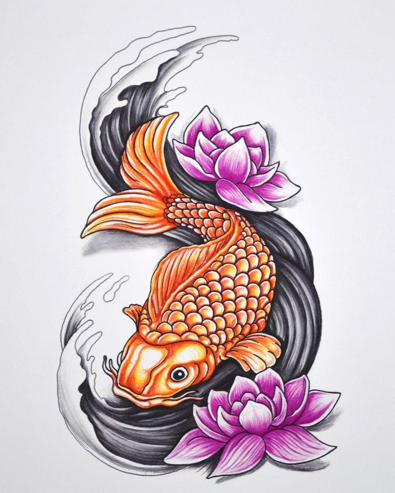Koi Fish 11 X 14 Archival Print Colored Pencil And Ink Art 30 Artwork Graphicdesign Koi Tattoo Design Fish Drawings Koi Art