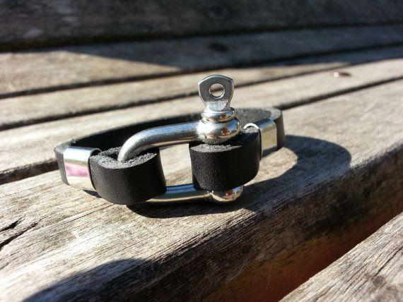 Men's leather bracelet black leather bracelet with by VavienStore, $15.00