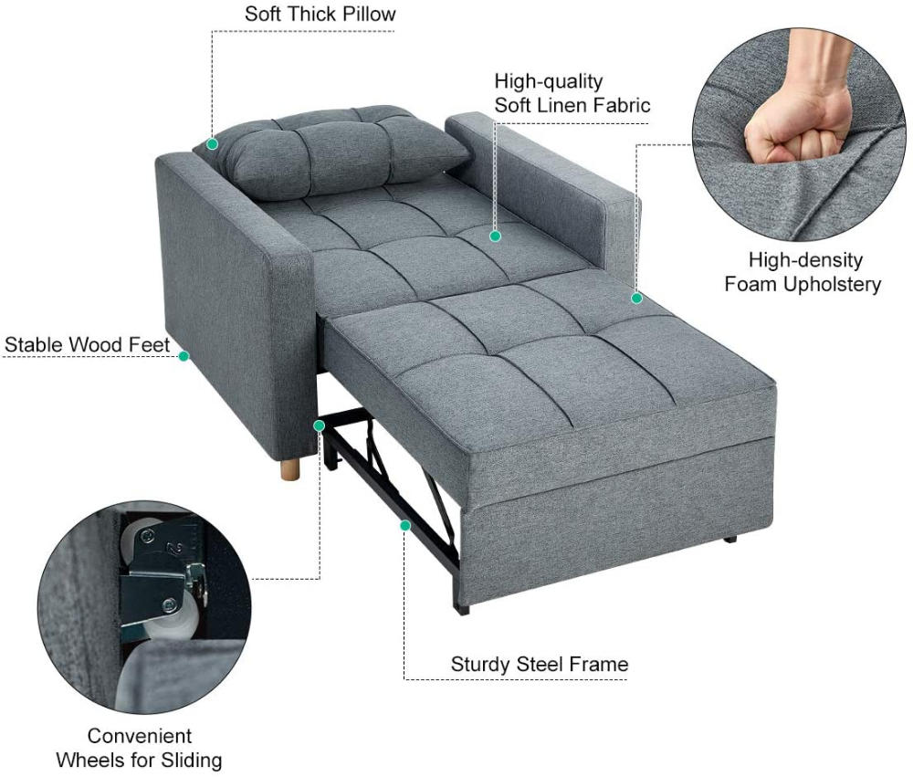 AmazonSmile: Esright Sofa Bed 6-in-6 Convertible Chair Multi