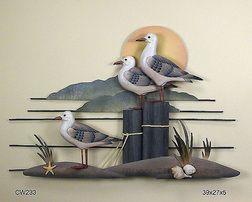 Seagull Trio Coastal Wall Sculpture Wall Sculptures Metal Wall