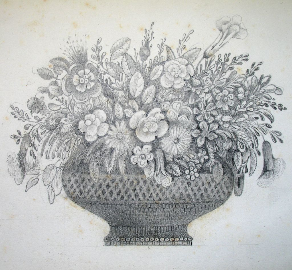 Antique french victorian drawing floral bouquet flowers 19th c pencil drawing of flower vase with flowers antique french victorian drawing floral bouquet flowers c kids and adult drawing art reviewsmspy
